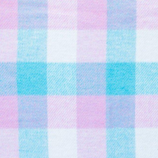 Tissu Lainage mélange Laine polyviscose Carreaux Rose, bleu et blanc - Par 10 cm