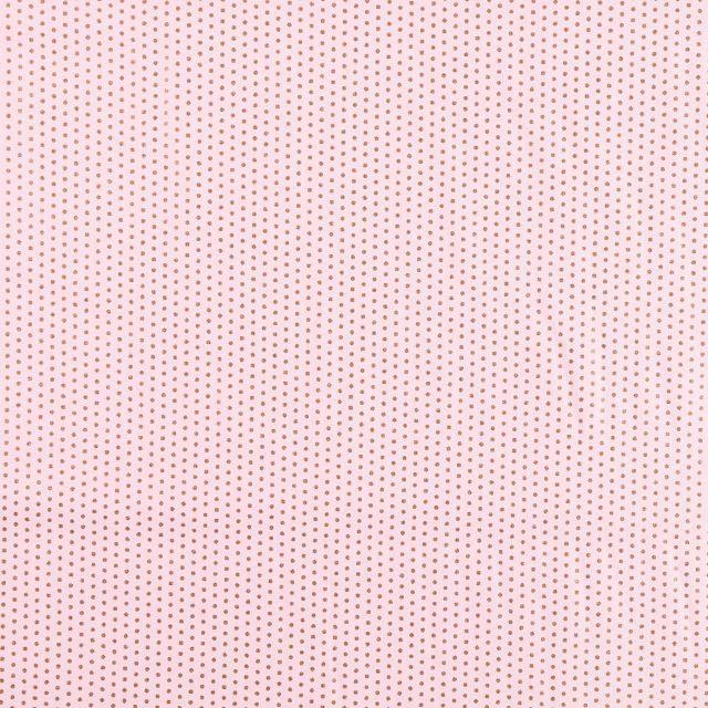 Tissu Coton Imprimé métallisé Frou-Frou Pois Scintillants cuivrés sur fond Rose - Par 10 cm
