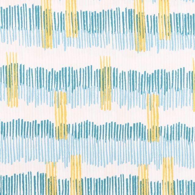 Tissu Coton Imprimé Frou-Frou Tokyo pétrole, jaune et beige sur fond Blanc - Par 10 cm