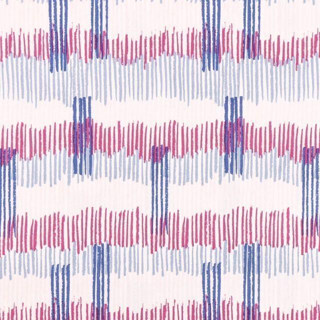 Tissu Coton Imprimé Frou-Frou Tokyo Bleu indigo, fuchsia, gris et beige sur fond Blanc - Par 10 cm