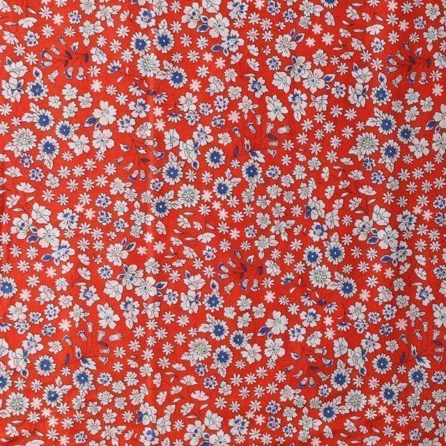 Tissu Coton Frou-Frou Fleuri N°25 Cognac - Par 10 cm