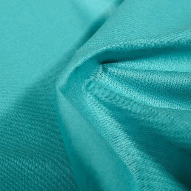 Tissu Popeline de coton unie Bio Bleu lagon - Par 10 cm