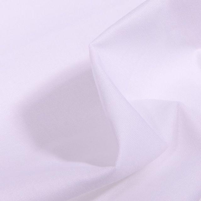 Tissu Popeline de coton unie Bio Blanc - Par 10 cm