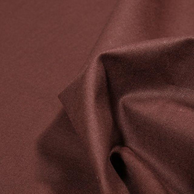 Tissu Popeline de coton unie Bio Marron foncé - Par 10 cm