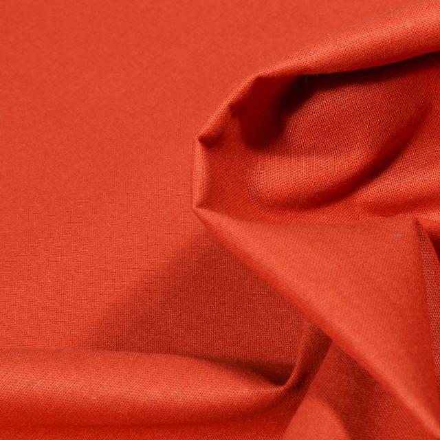Tissu Popeline de coton unie Bio Brique - Par 10 cm