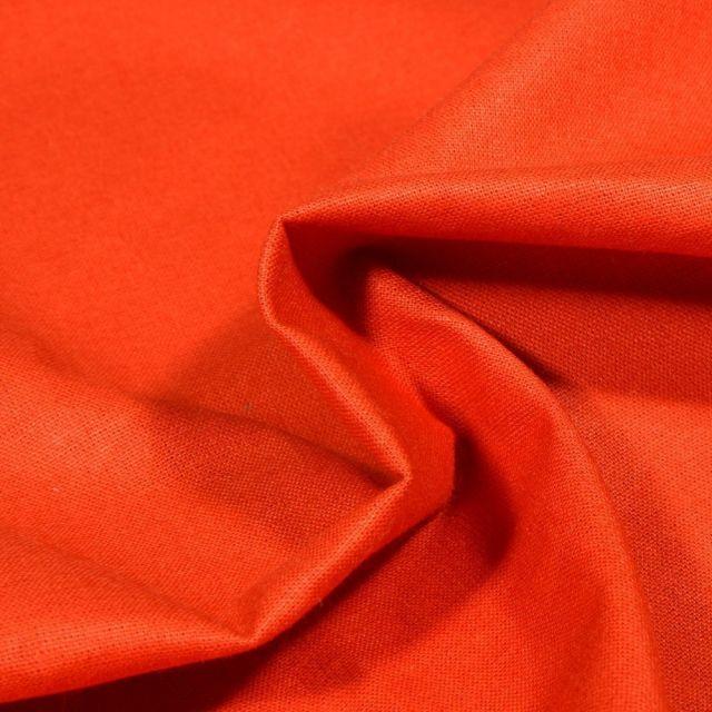 Tissu Popeline de coton unie Bio Orange - Par 10 cm