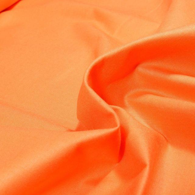 Tissu Popeline de coton unie Bio Pêche - Par 10 cm