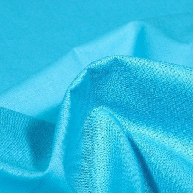 Tissu Popeline de coton unie Bio Bleu turquoise - Par 10 cm
