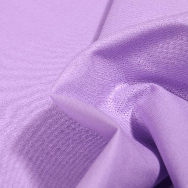 Tissu Popeline de coton unie Bio Lilas - Par 10 cm