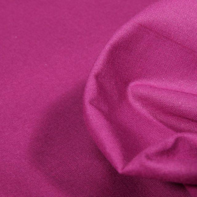 Tissu Popeline de coton unie Bio Rose fuchsia - Par 10 cm