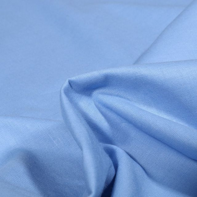Tissu Popeline de coton unie Bio Bleu ciel - Par 10 cm