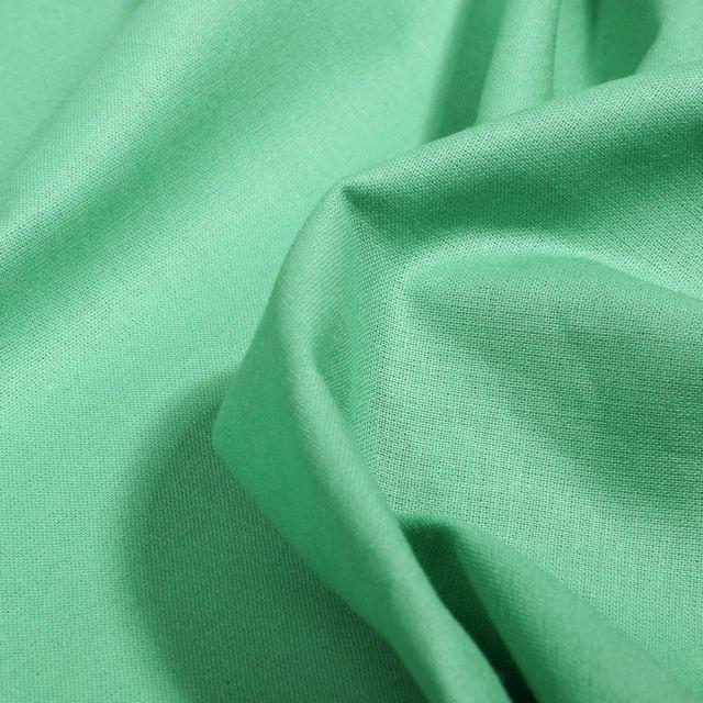 Tissu Popeline de coton unie Bio Vert menthe - Par 10 cm