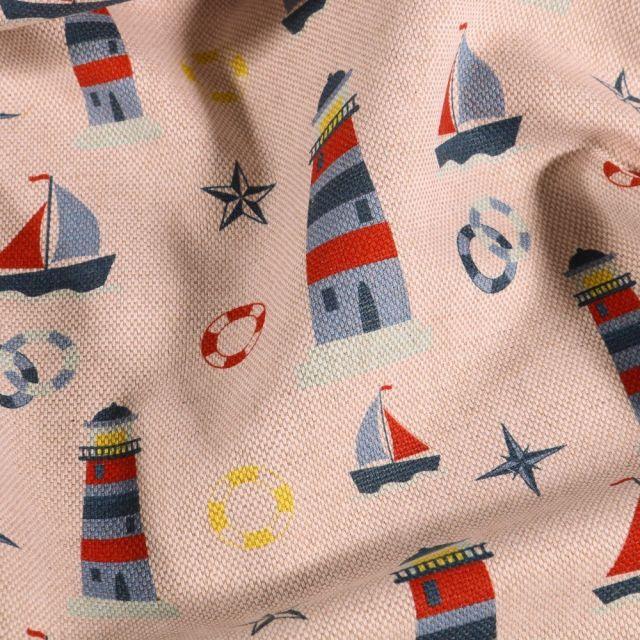 Tissu Toile de coton aspect lin Phares et bateaux sur fond Naturel - Par 10 cm
