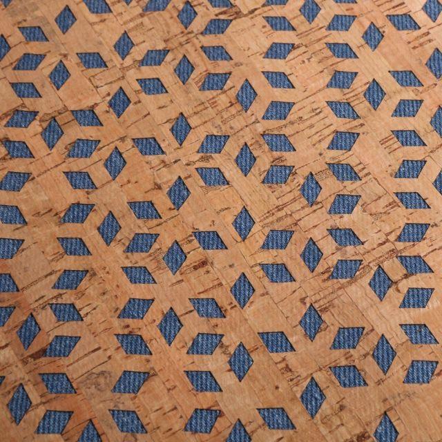 Tissu Liège monté sur jeans Losanges sur fond Bleu denim - Par 10 cm