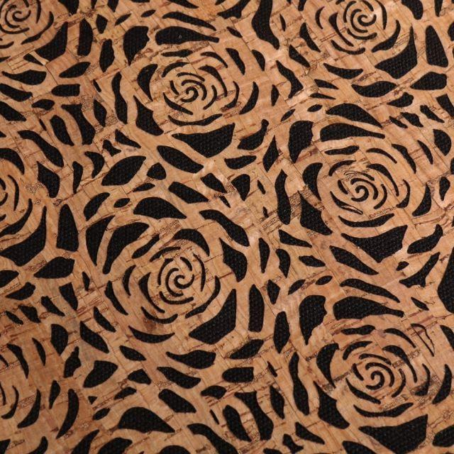 Tissu Liège monté sur jeans Fleurs sur fond Noir - Par 10 cm