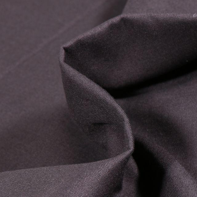 Tissu Popeline de coton unie Bio Noir