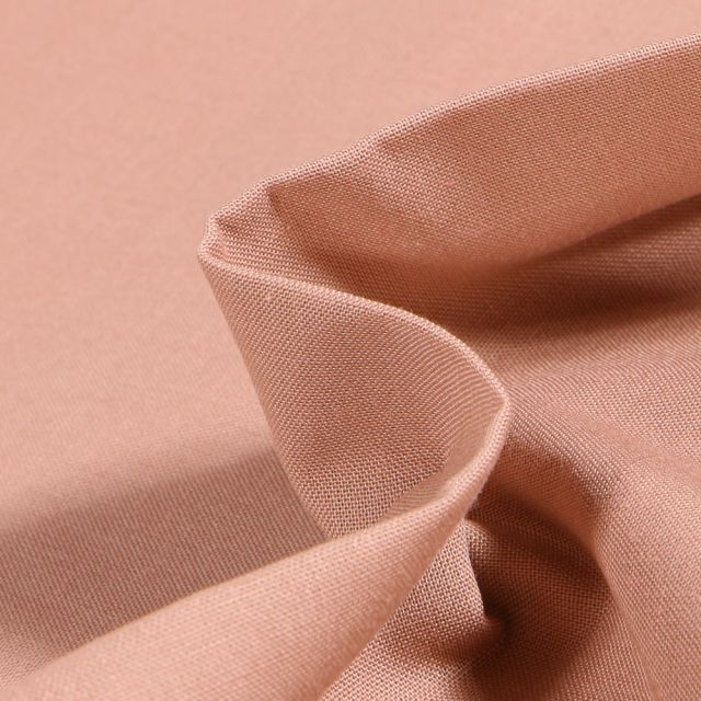 Tissu Popeline de coton unie Bio Rose nude