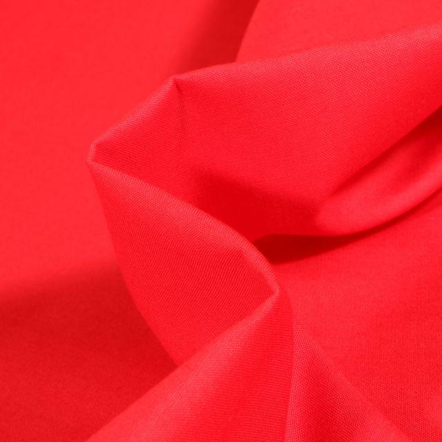 Tissu Popeline de coton unie Bio Rouge