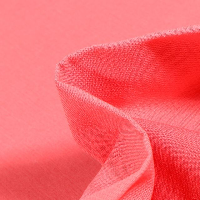Tissu Popeline de coton unie Bio Rose corail