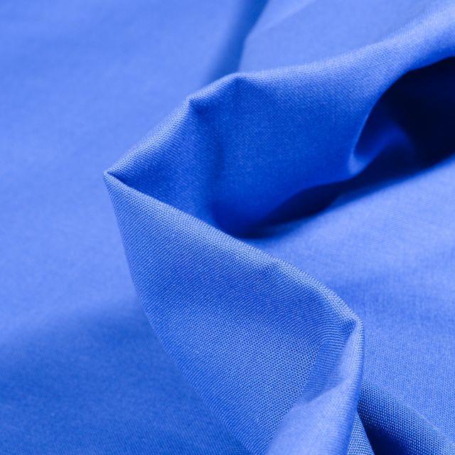 Tissu Popeline de coton unie Bio Bleu roi