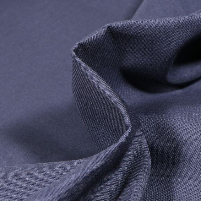 Tissu Popeline de coton unie Bio MARINO sur fond Bleu marine