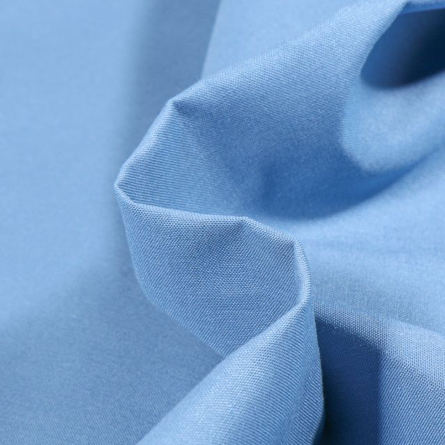 Tissu Popeline de coton unie Bio Bleu ancien