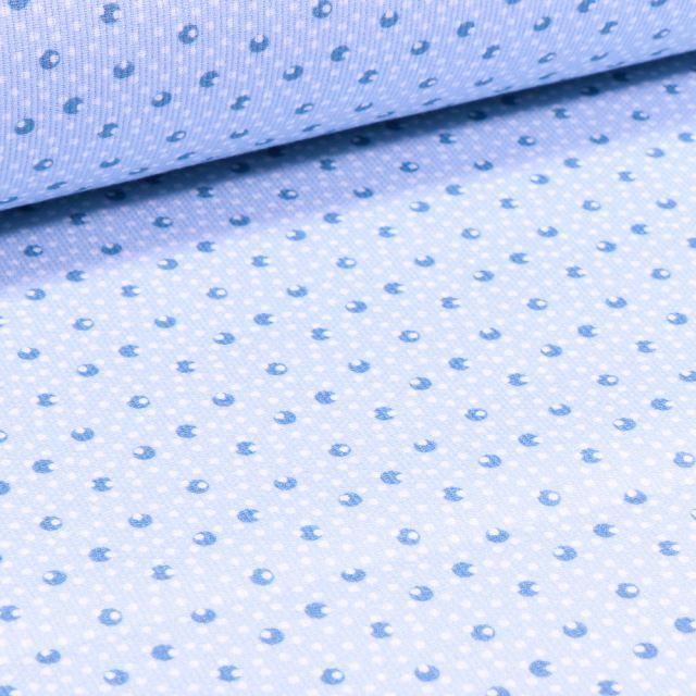 Tissu Piqué de coton Pois et point sur fond Bleu ciel