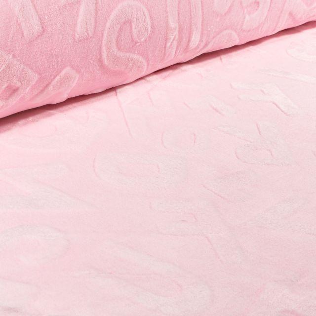 Tissu Polaire Doudou Alphabet 3D sur fond Rose bébé