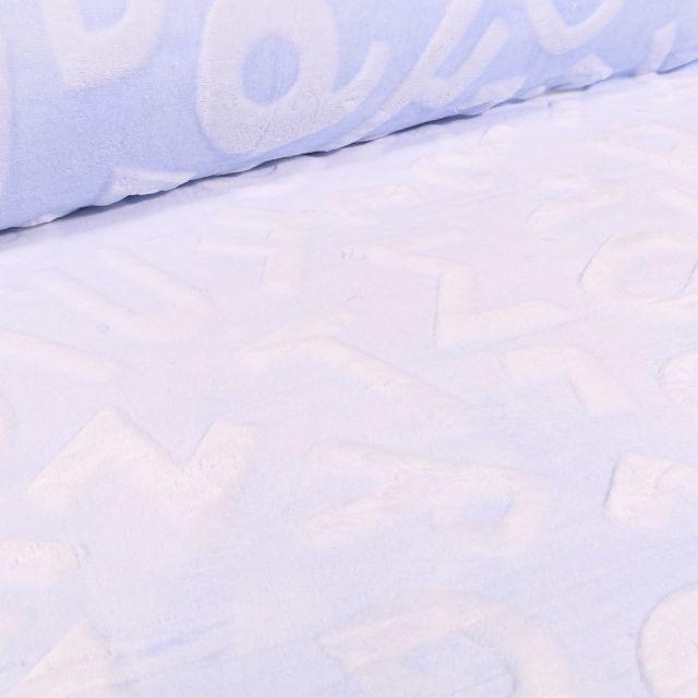 Tissu Polaire Doudou Alphabet 3D sur fond Bleu ciel
