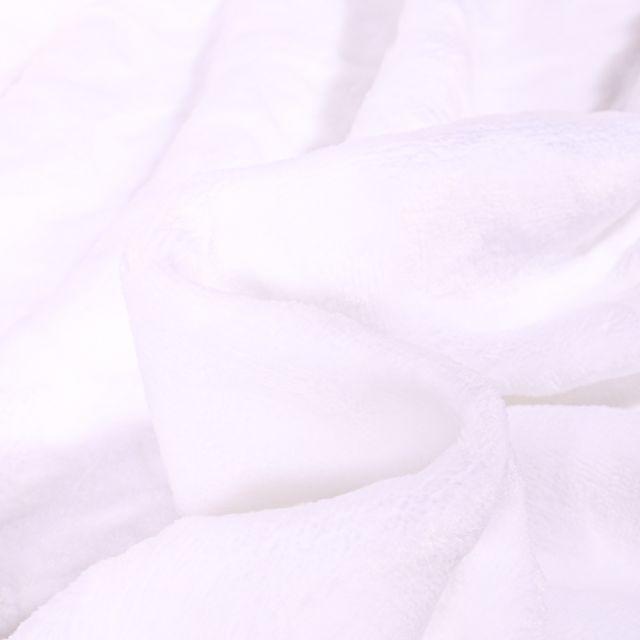 Tissu Doudou Etoiles et ronds sur fond Blanc