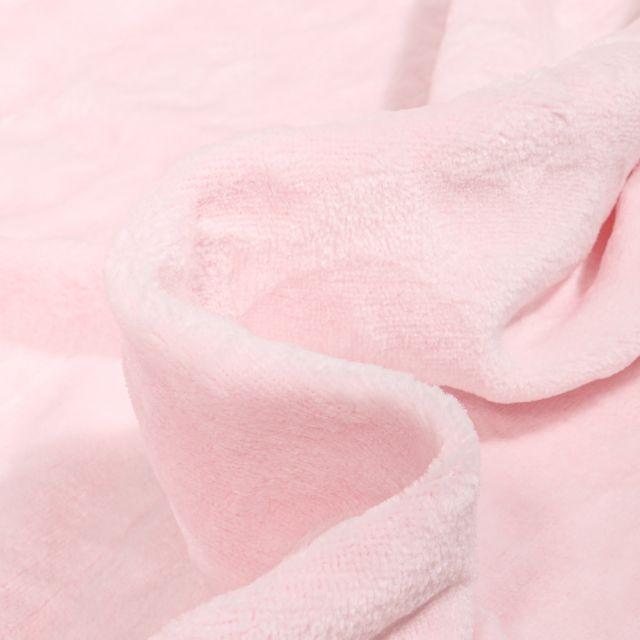 Tissu Doudou Etoiles et ronds sur fond Rose bébé