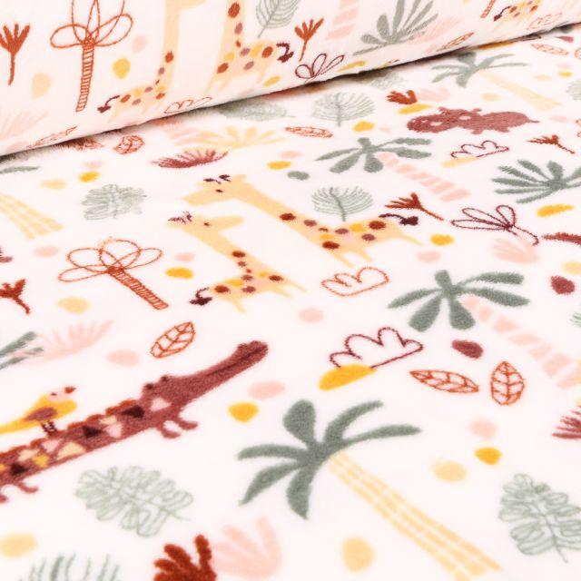 Tissu Doudou Jungle sur fond Blanc