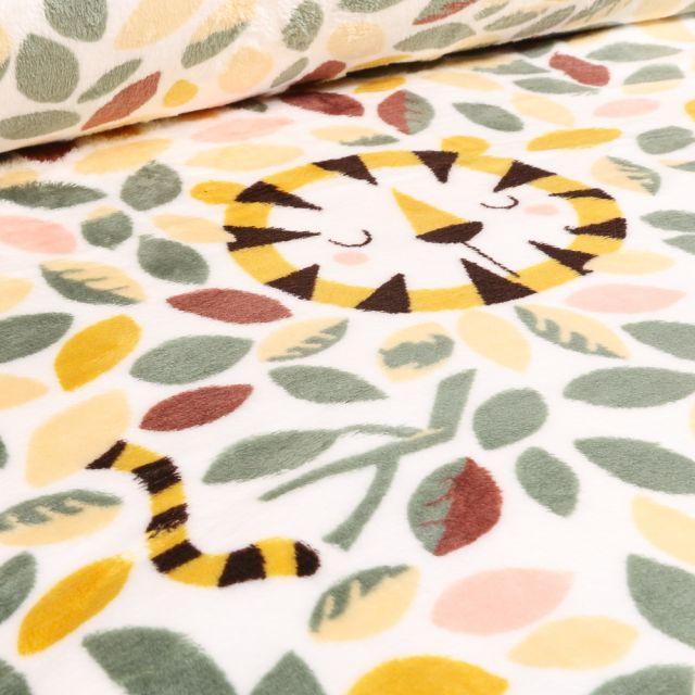 Tissu Doudou Lion Jungle sur fond Blanc