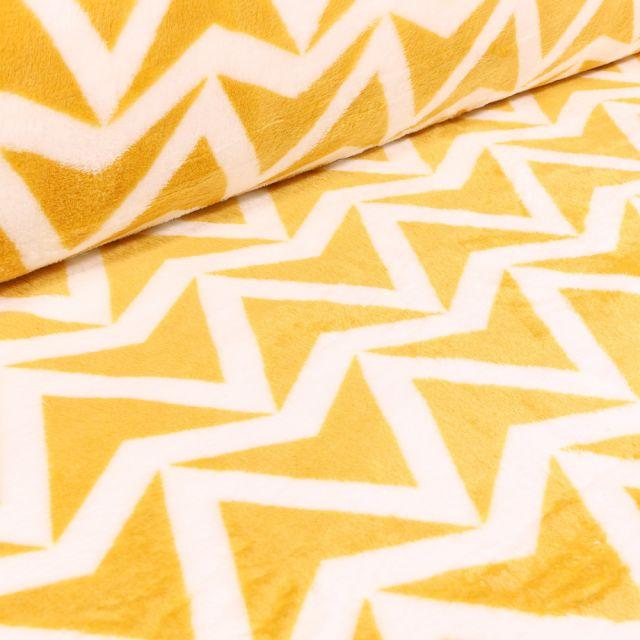 Tissu Doudou Triangles blancs sur fond Jaune