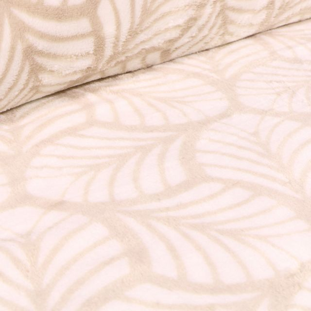 Tissu Doudou Feuilles blanches sur fond Beige
