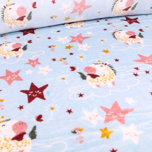 Tissu Doudou Licornes et étoiles sur fond Bleu ciel