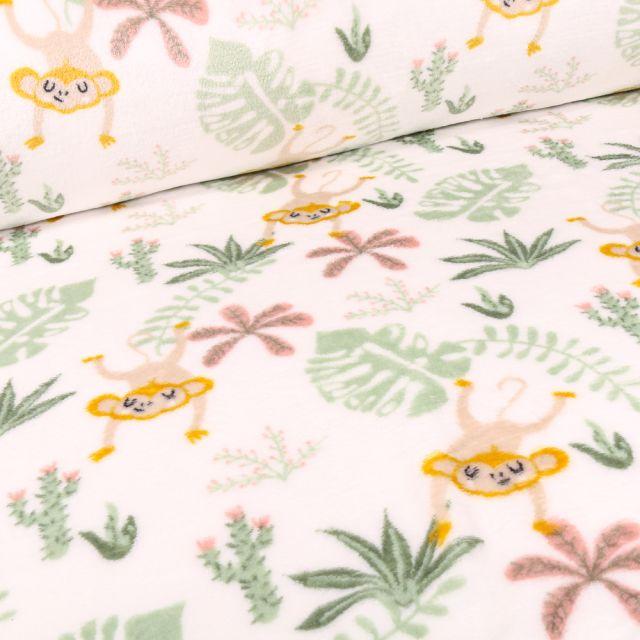 Tissu Doudou Singes et feuilles tropical sur fond Blanc