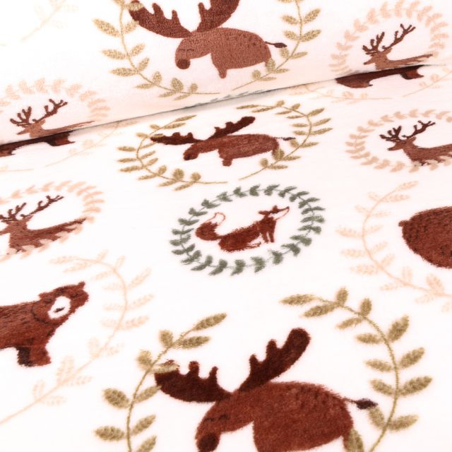 Tissu Doudou Elans cerfs et renards sur fond Blanc