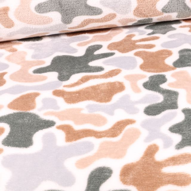 Tissu Doudou Camouflage tons clairs sur fond Blanc