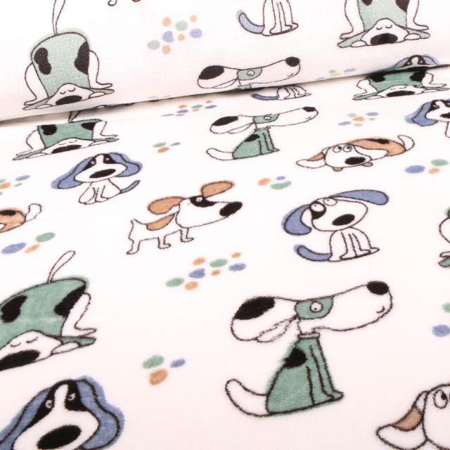 Tissu Doudou Doggy sur fond Blanc