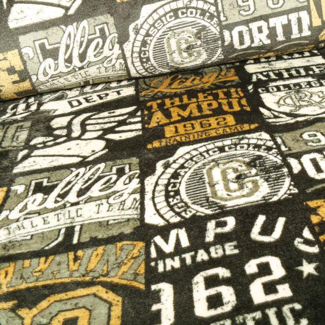 Tissu Doudou Campus vintage sur fond Gris anthracite