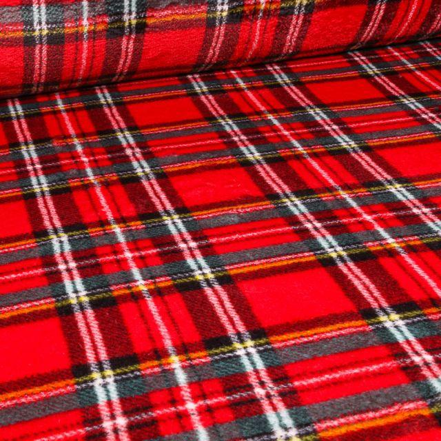 Tissu Doudou Carreaux Ecossais sur fond Rouge