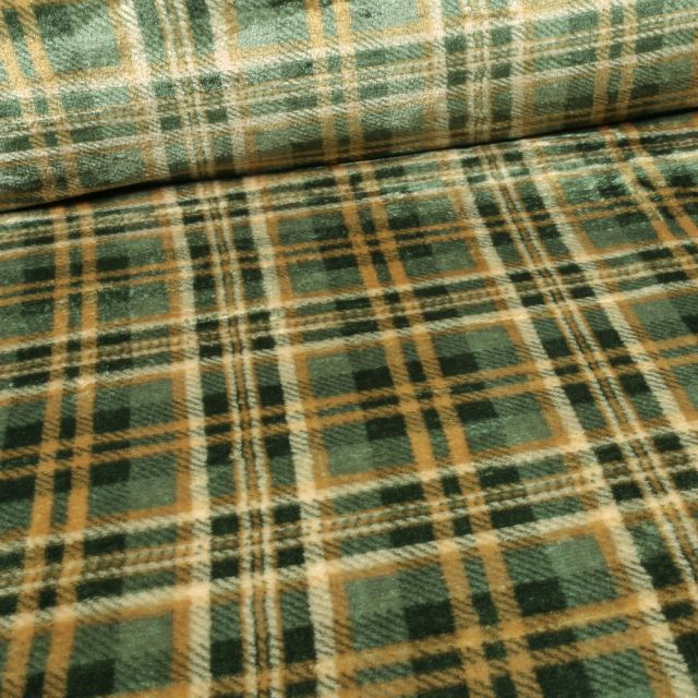 Tissu Doudou Carreaux Ecossais sur fond Vert