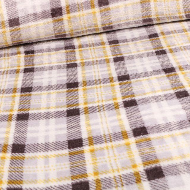 Tissu Doudou Carreaux Ecossais gris et jaune sur fond Blanc