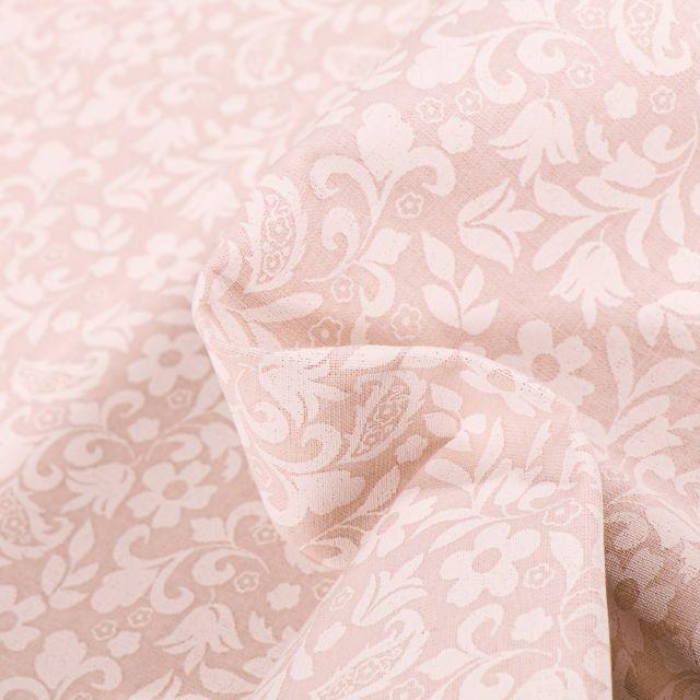 Tissu Coton MC Fabrics Petites arabesques et fleurs sur fond Beige