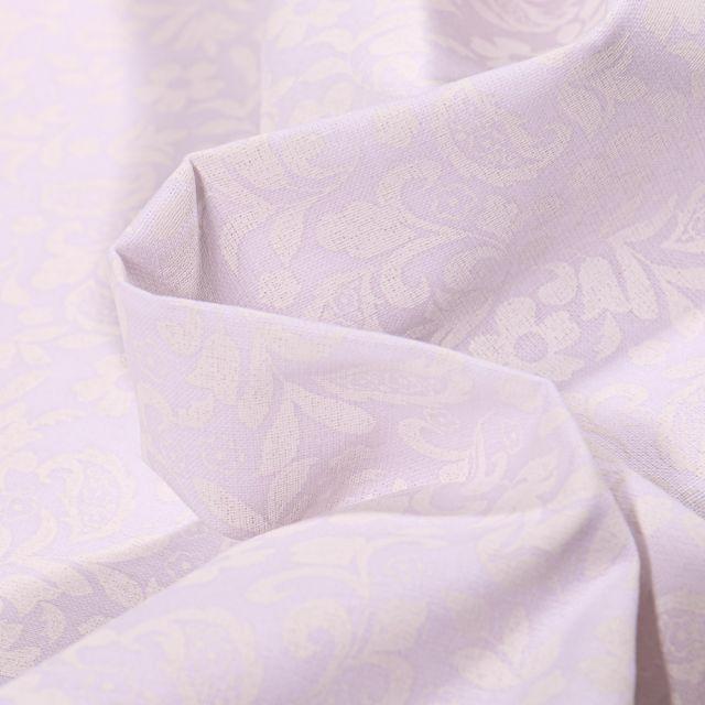 Tissu Coton MC Fabrics Petites arabesques et fleurs sur fond Blanc