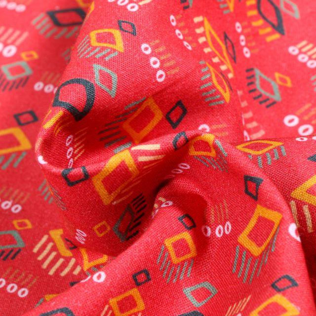 Tissu Coton MC Fabrics Losanges abstraits sur fond Rouge