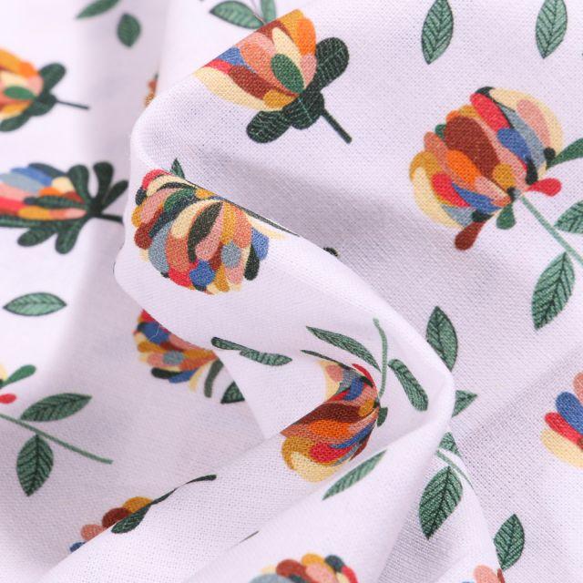 Tissu Coton MC Fabrics Pivoines multicolores sur fond Blanc
