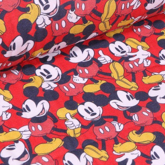 Tissu Coton imprimé sous licence Bio Mickey Good sur fond Rouge - Par 10 cm