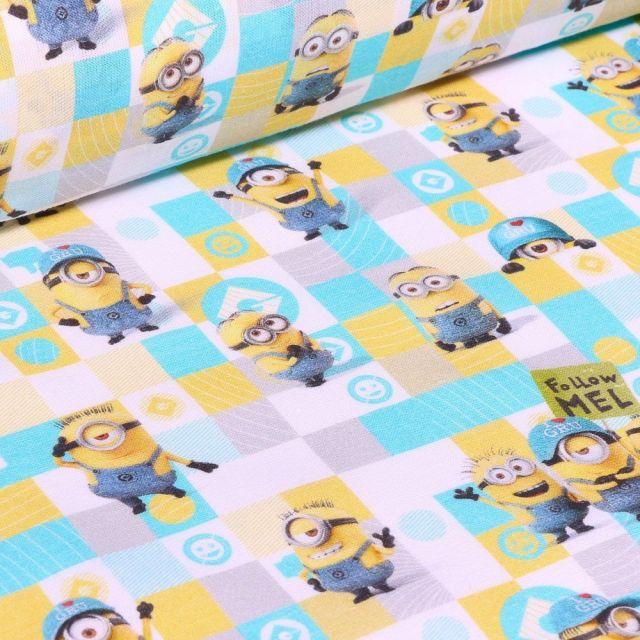 Tissu Coton imprimé sous licence Bio Les Minions quadrillés sur fond Blanc - Par 10 cm